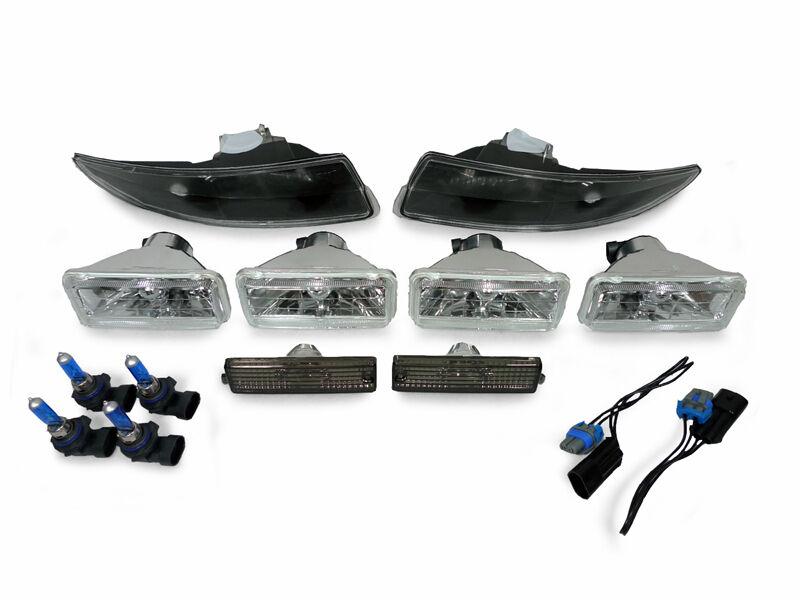New 93 97 Chevy Camaro Clear Headlights Black Bumper Lights Side Marker Lamp