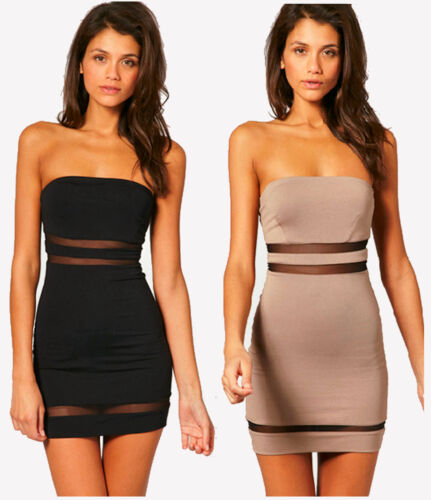 NEW ASOS Women's Bodycon Cut Out Mesh Dress / Fitted Strapless Bandeau Tunic