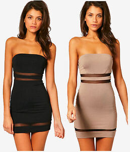 Bandeau Dress on Bodycon Cut Out Mesh Dress   Fitted Strapless Bandeau Tunic   Ebay
