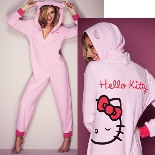 Avon Ladies Girls Pink Hello Kitty Onesie Bow Snuggle Suit Pyjamas