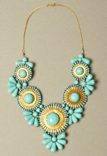 NEW Anthropologie TURQUOISE Flower Glass Vintage Style STATEMENT Bib NECKLACE in Jewelry & Watches, Fashion Jewelry, Necklaces & Pendants   eBay