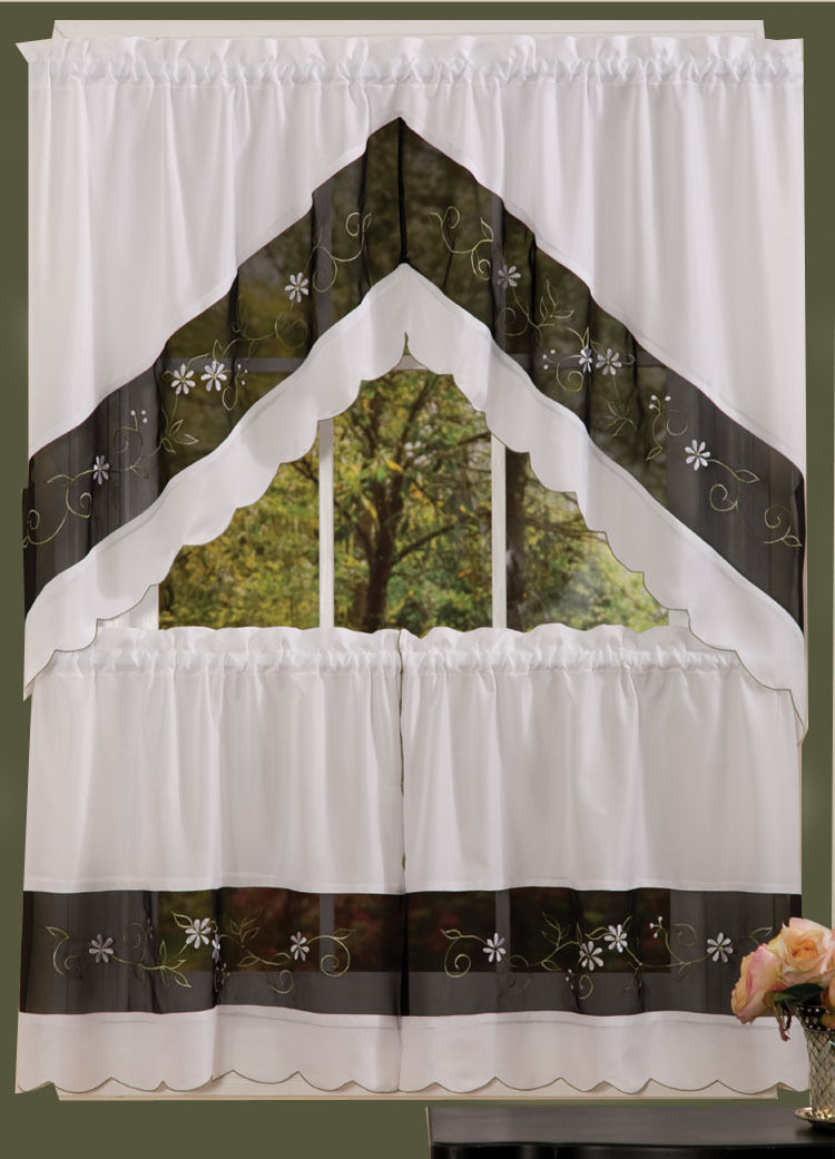 Complete Kitchen Curtain Set Window Curtain Black N White