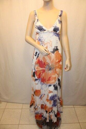 New BCBG Generation Orange Floral Print Long Dress 4