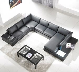 New black bonded leather sectional sofa w built in lights for T35 modern sectional sofa