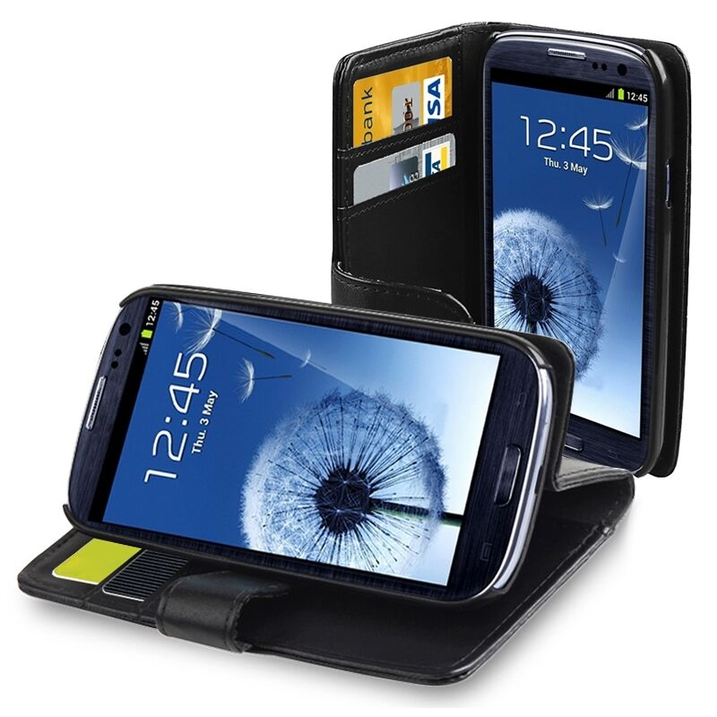 NEW BLACK Wallet PU Leather Case Flip Cover FOR SAMSUNG Galaxy S3 i9300 S III