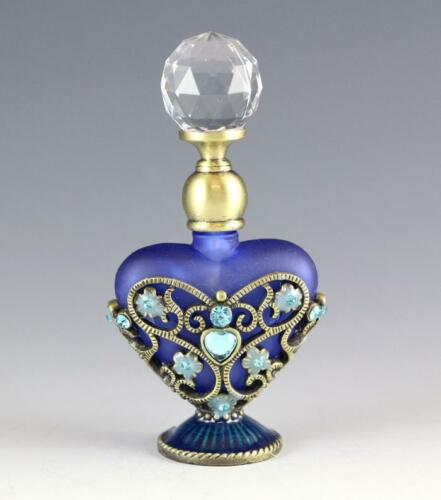 NEW BLUE 2-SIDES DECORATIVE MOTIF HEART SHAPED SANDBLASTED GLASS PERFUME BOTTLE in Collectibles, Vanity, Perfume & Shaving, Perfumes | eBay