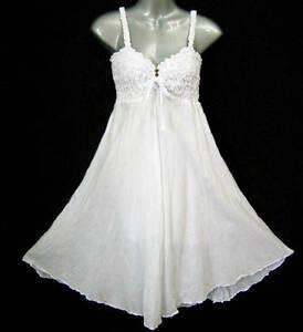 White Summer Dress on New Boho Summer Party Wedding White Short Dress Babydoll One Size Xs S
