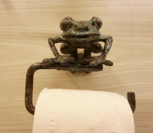 Brass Roll Tissue Paper Holder Hang ฺgreen Frog Vintage
