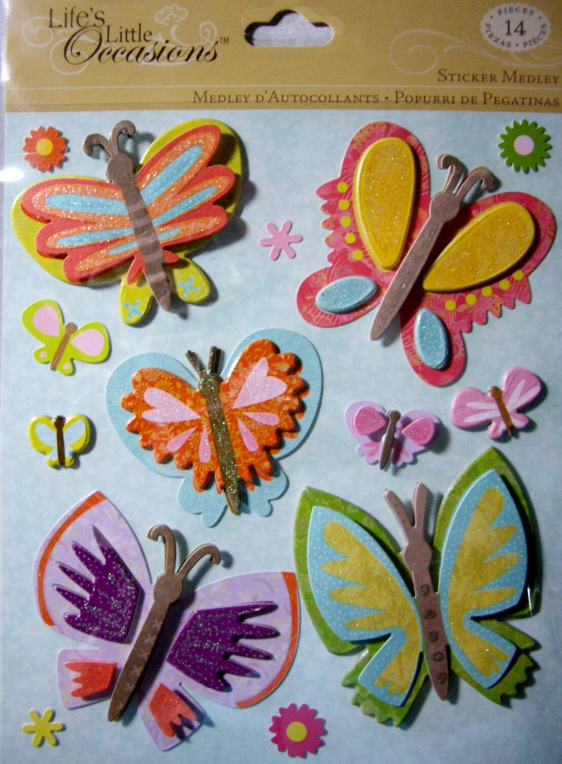 NEW 14 pc BUTTERFLIES STICKER MEDLEY Butterfly Sparkle Flowers LLO  K /& CO 3D