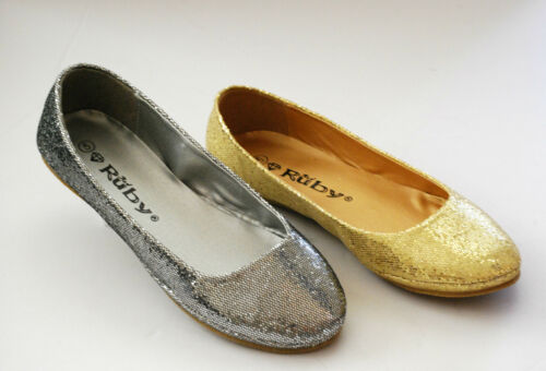 NEW Ballet Flats Glitter Sparkle Low Heel Big Size Round Gold Black Women Shoes