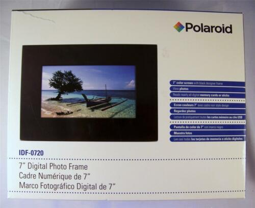 "NEW Black Polaroid 7"" LCD Digital Picture/Photo Frame w Remote,Card/USB IDF-0720 in Cameras & Photo, Digital Photo Frames 