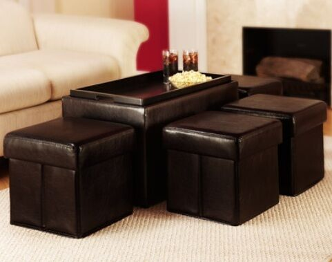 Dark brown coffee table storage faux leather bench w 4 folding ottoman 5pc set ebay Dark brown leather ottoman coffee table