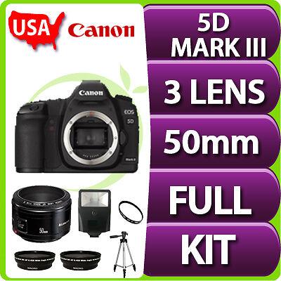 NEW Canon EOS 5D Mark III Digital SLR Camera Body +3 Lens Kit USA in Cameras & Photo, Digital Cameras | eBay