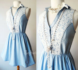 White  Dress on Light Denim Blue White Lace Trim Western Boho Chic Sun Dress   Ebay