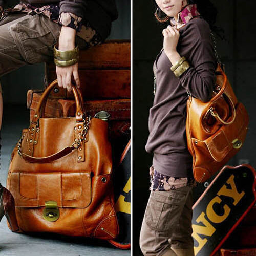 NEW Cool Retro Style Lady Large Shoulder Handbag PU Leather Tote Hobo Bag