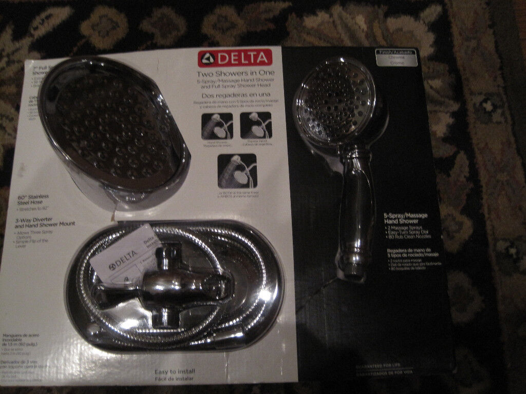 New Delta Two Showers In One 5 Spray Massage Hand Shower 75537 On