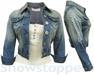 new denim jacket womens jean jackets ladies cropped waistcoat size 8. Black Bedroom Furniture Sets. Home Design Ideas