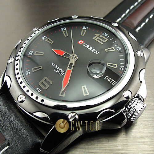 NEW DIAL CLOCK HOURS HAND DATE WATER BLACK BROWN LEATHER MEN WRIST WATCH WP136