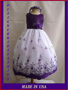 NEW DK72 PURPLE WEDDING PAGEANT PARTY FLOWER GIRL DRESS SIZE 1 2 4 6 8 10 12 in Clothing, Shoes & Accessories, Kids' Clothing, Shoes & Accs, Girls' Clothing (Sizes 4 & Up) | eBay
