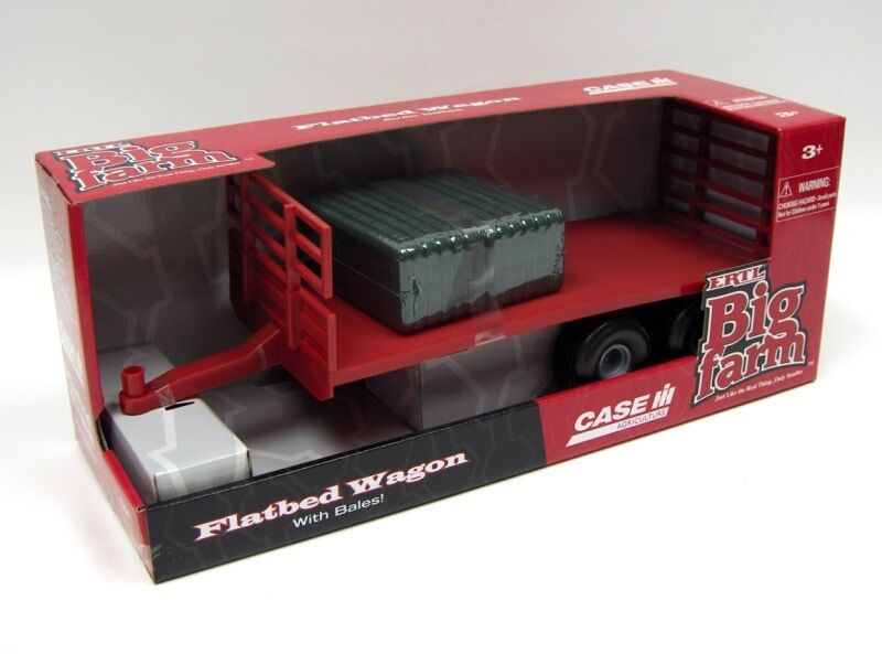NEW ERTLE BIG FARM RED FLATBED TRAILER WITH HAY