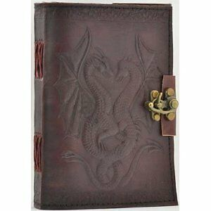 NEW! Embossed Leather Double Dragon 120 Page Unlined Journal Diary with Lock in Books, Accessories, Blank Diaries & Journals | eBay
