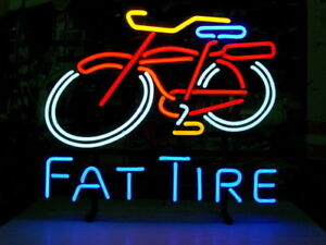 NEW FAT TIRE BEER BICYCLE REAL NEON LIGHT BAR PUB SIGN in Collectibles, Breweriana, Beer, Signs, Tins | eBay