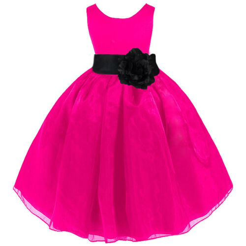 NEW FUCHSIA PINK BLACK WEDDING ORGANZA FLOWER GIRL DRESS 12-18m 2/3T 4/5T 6 8 10 in Clothing, Shoes & Accessories, Wedding & Formal Occasion, Girls' Formal Occasion | eBay