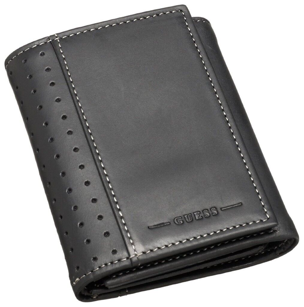 New Guess Mens Black Leather Credit Card Trifold ID Wallet Case