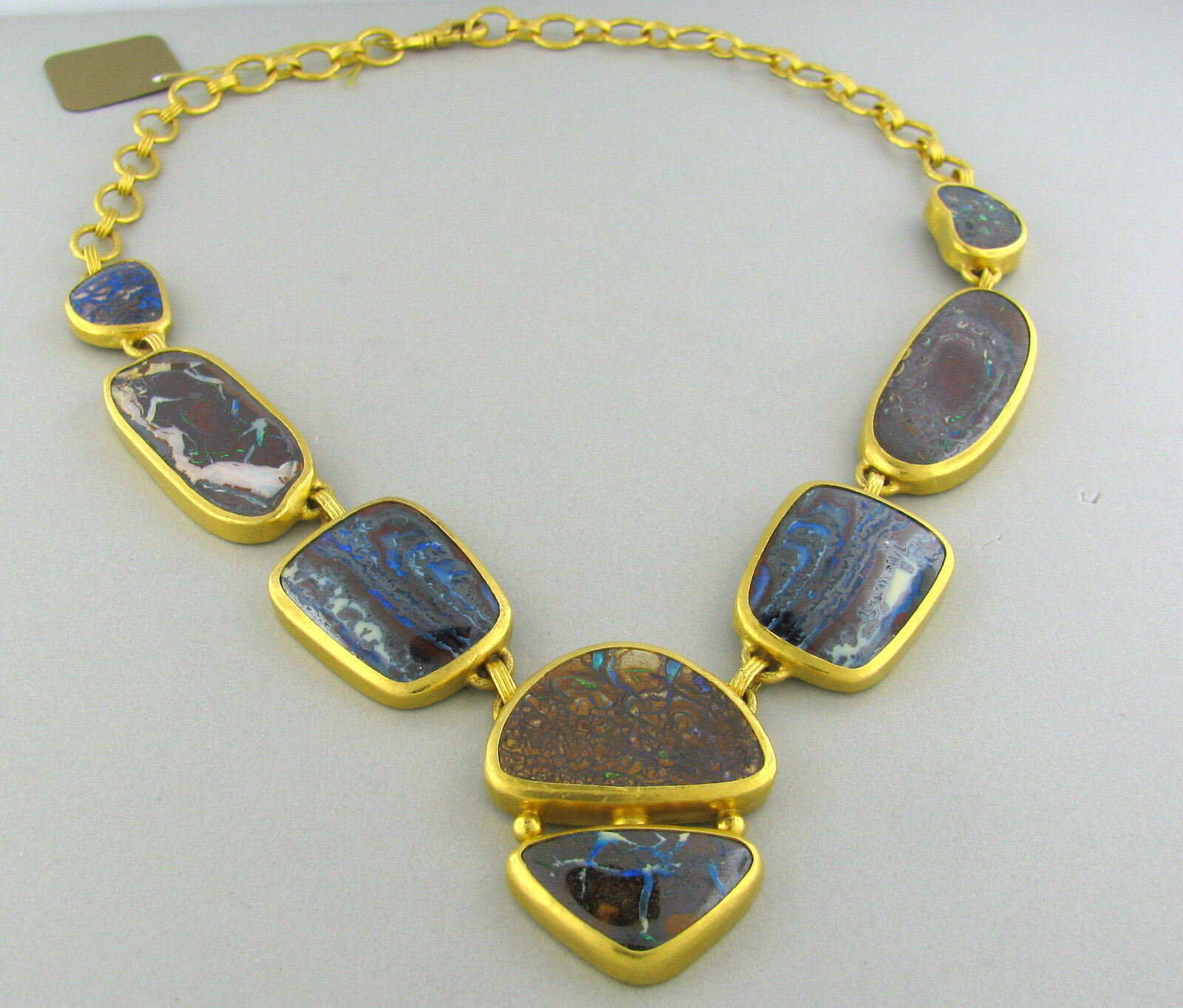 New gurhan quilpie 24k gold 175ct boulder opal necklace ebay for Jewelry stores boulder co