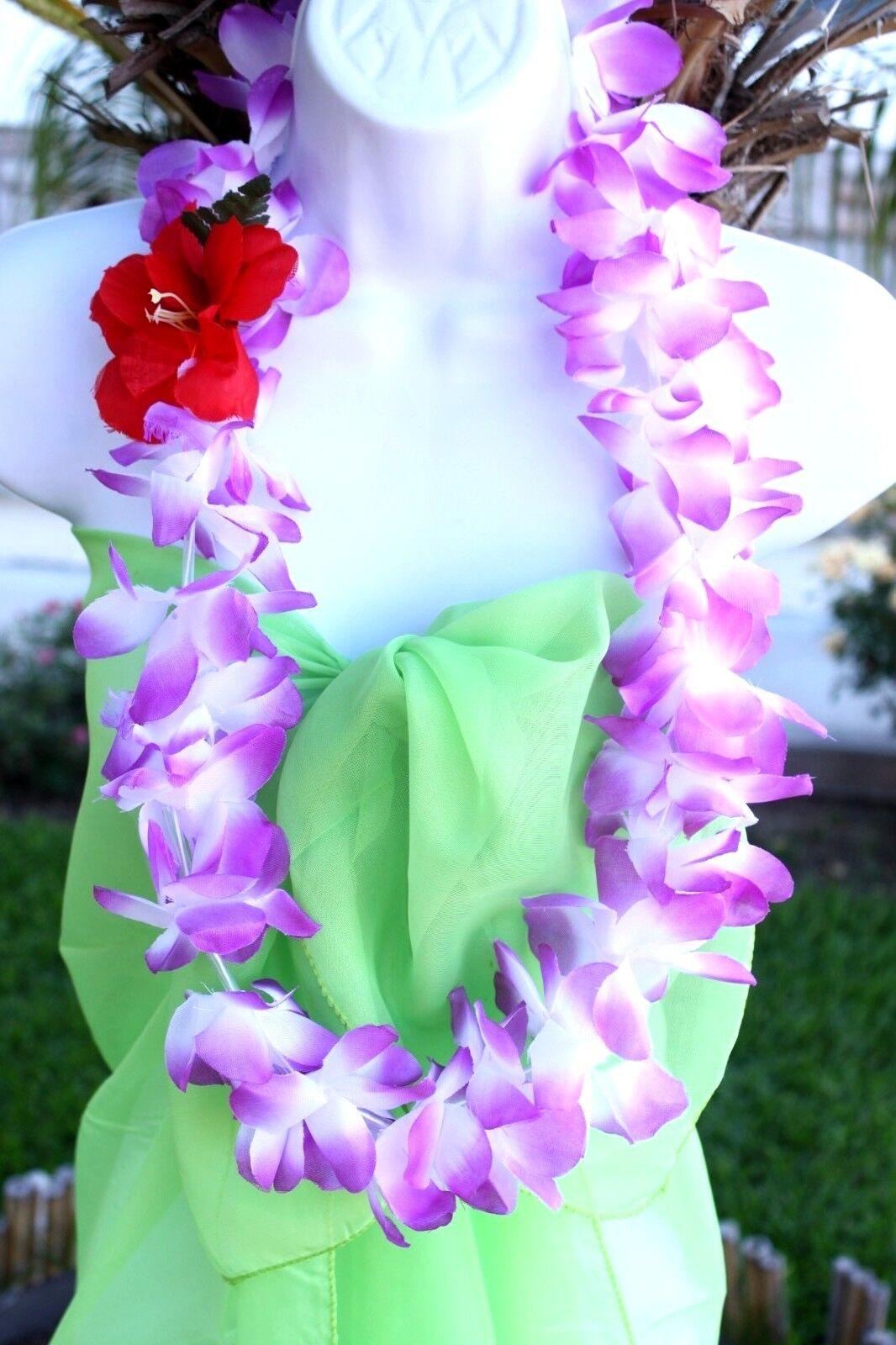 Six Hawaiian Hawaii Flower Lei Hula Luau Party Favor Necklace Purple