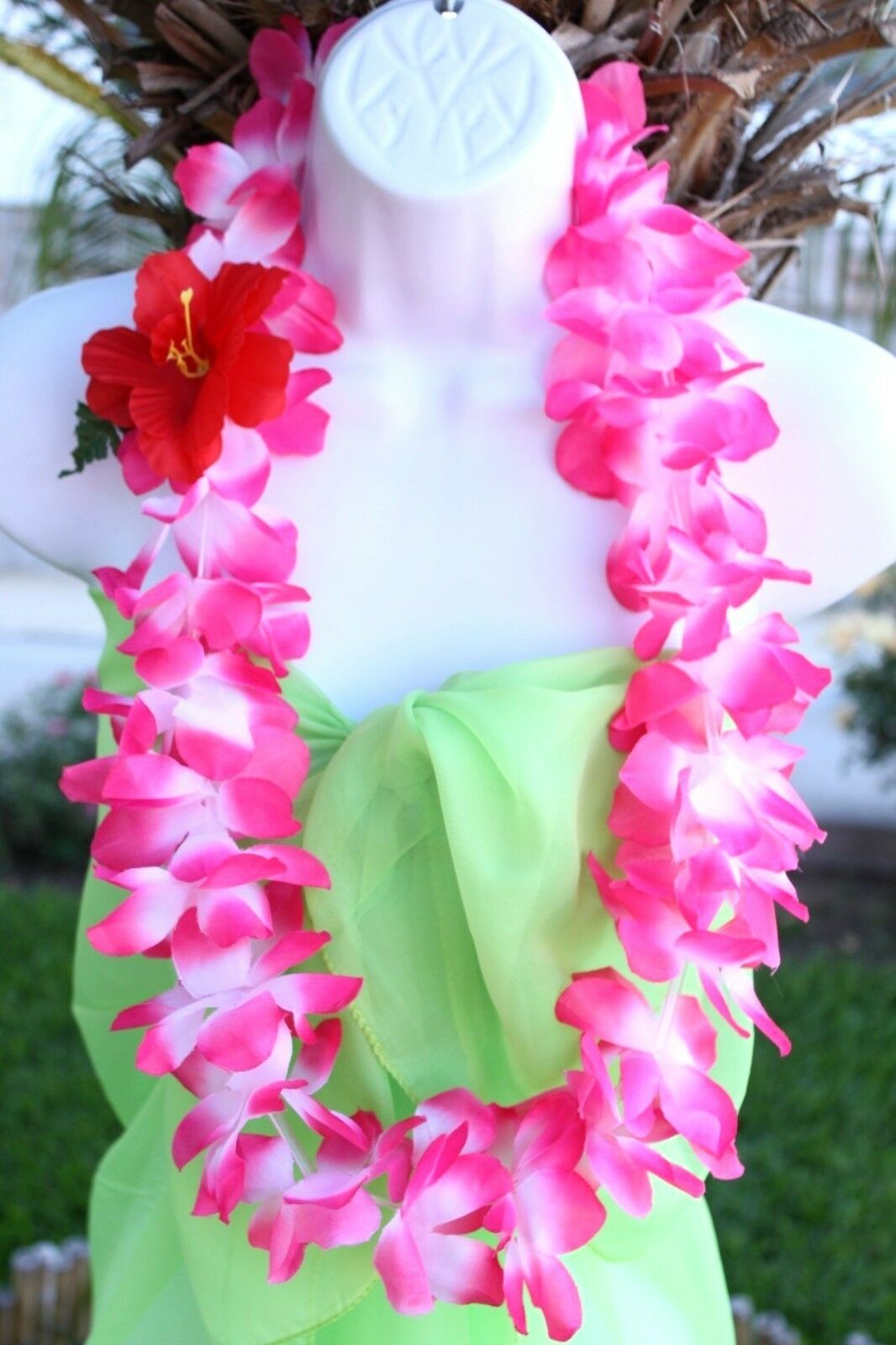 TWO Hawaiian Silk Flower Lei Luau Party Hula Necklace Pink & White QTY