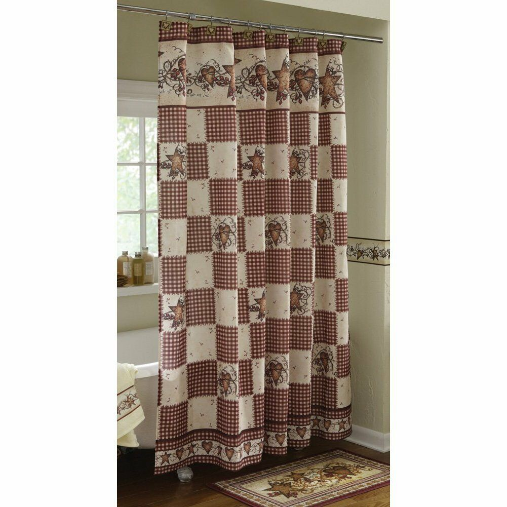 Stars And Berries Americana Country Shower Curtain Bath Decor