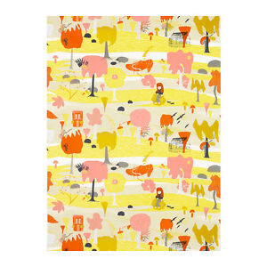 New ikea fjallfly home decor fabric white coral yellow for Modern home decor fabric prints