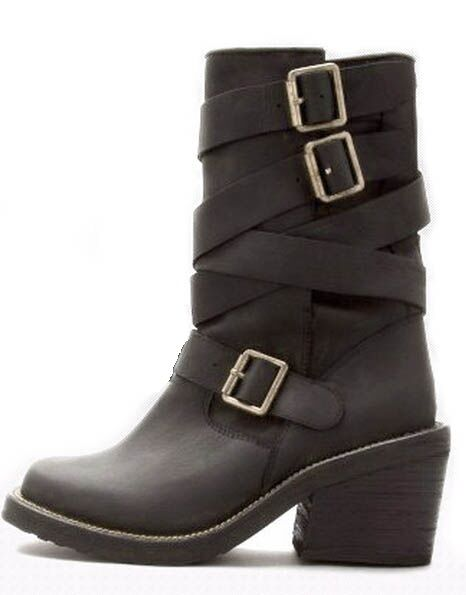 Campbell Black Biker Rider Style Deanne 3 Wrap Ankle Boots