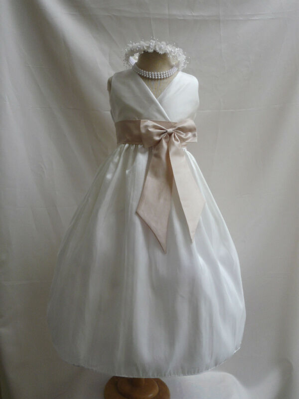 NEW IVORY CHAMPAGNE WEDDING FLOWER GIRL DRESS 1 1 4 eBay