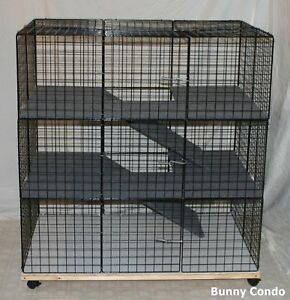 New indoor large bunny condo rabbit cage pen hutch ebay for Diy playpen for guinea pigs