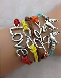 NEW-Infinity-Love-Dove-Peace-leaf-Leather-Charm-Bracelet-plated-Silver ...