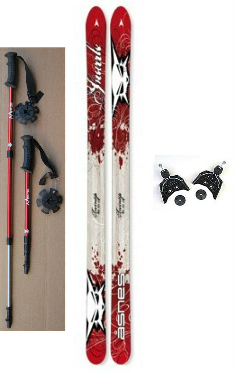 NEW Kids 75mm Cross Country SKIS/BINDINGS/POLES  110/120/130cm  Wood