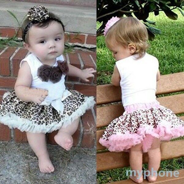 NEW Kid's Tutu Dress Child Outfits Leopard Flowers Top+Skirt Set 2 Pcs 1-4 Years