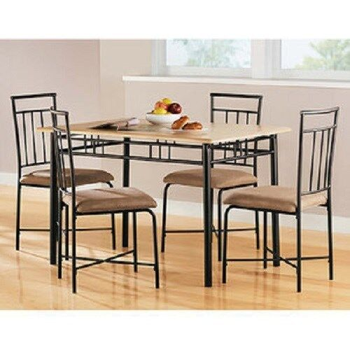 Kitchen Dining Set Table and 4 Chairs 5 Piece Dinette Black Natural
