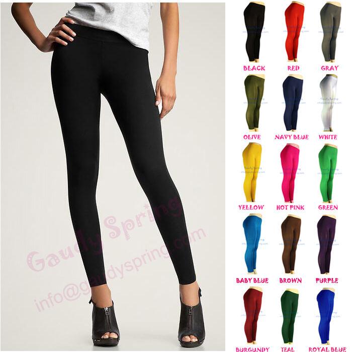 NEW LADIES BASIC ULTRA STRETCH PANTS TIGHTS BLACK FULL LENGTH LEGGINGS XS S M L