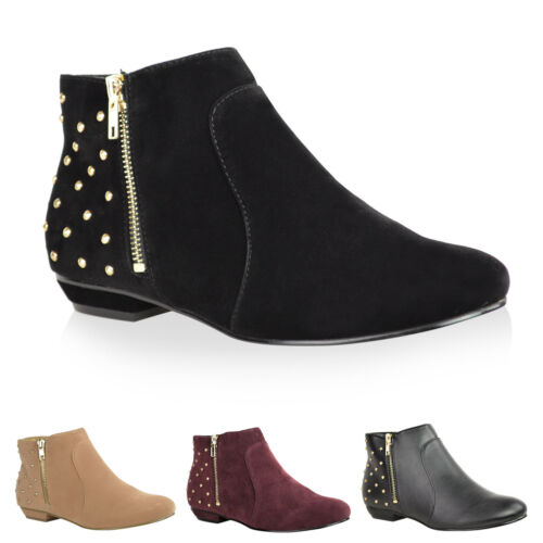 NEW LADIES WOMENS BLACK ANKLE BOOTS GOLD ZIP BOOTIES FLAT PIXIE ZIP SIZE 3-8