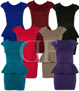 Shift Dress on Short Pencil Shift Stretch Peplum Dress Black Red Blue 8   14   Ebay