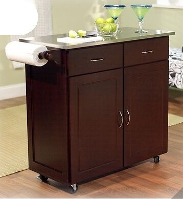 New large dark brown kitchen island utility cart wheeled for Kitchen units on wheels