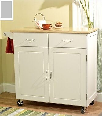 Large white kitchen island utility cart wheeled modern for Kitchen units on wheels