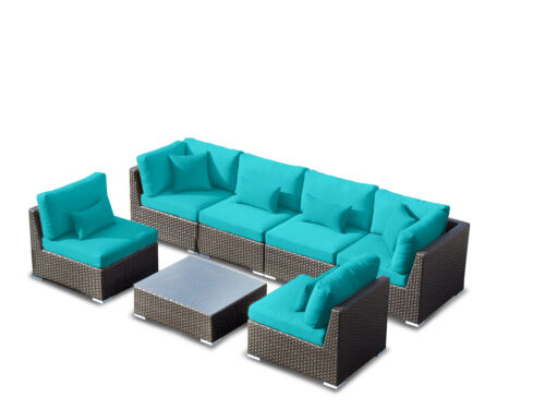 NEW! Las Vegas Set Outdoor Patio 7pcs with Sectional Wicker Sofa Furniture Turqu in Home & Garden, Yard, Garden & Outdoor Living, Patio & Garden Furniture | eBay