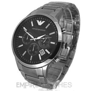 new mens emporio armani steel chronograph watch ar2434. Black Bedroom Furniture Sets. Home Design Ideas