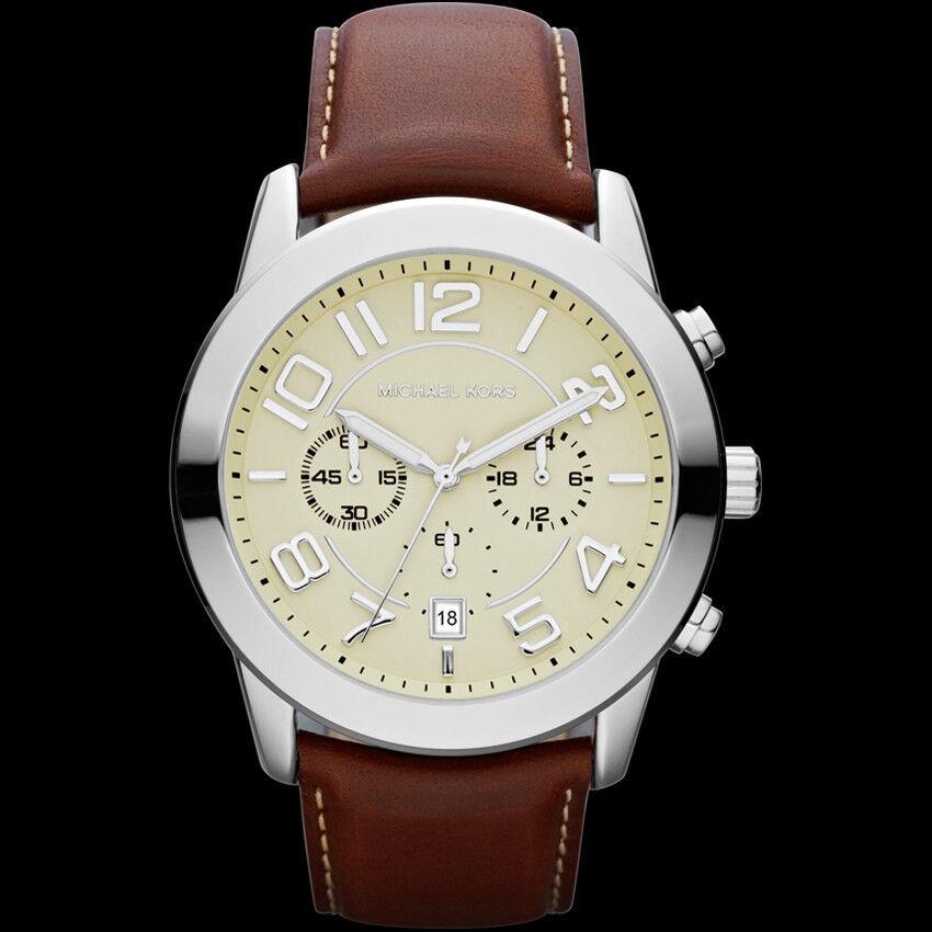 new michael kors mercer brown leather chronograph s