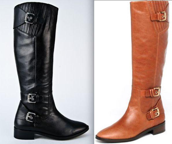 NEW MICHAEL KORS Tatum Black Brown Vicuna Leather Flat Heel Riding