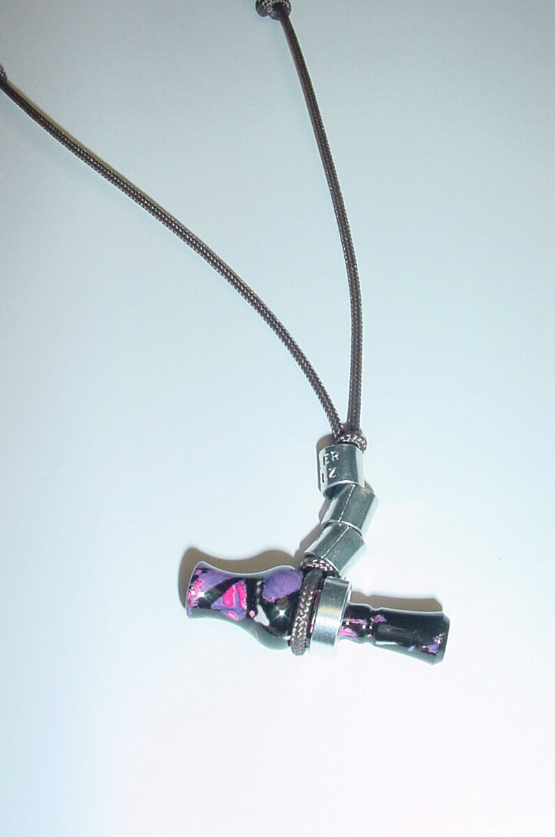 new mini duck call necklace with dipped pink purple camo